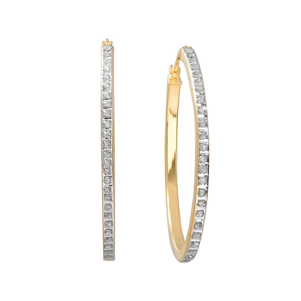 Diamond Mystique 18k Gold Over Silver Oval Hoop Earrings