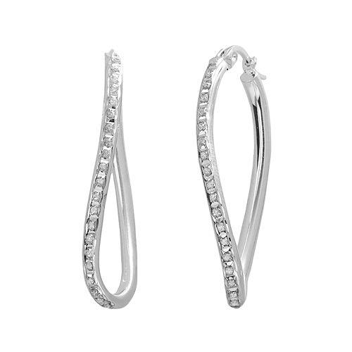 Diamond Mystique Platinum Over Silver Figure 8 Hoop Earrings