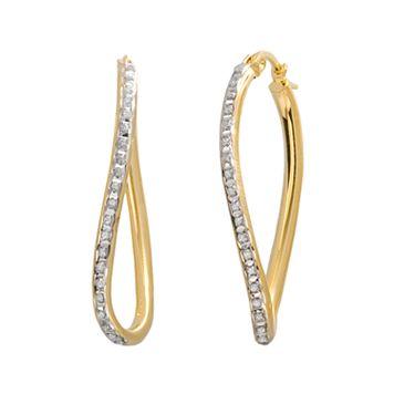 Diamond Mystique 18k Gold Over Silver Figure 8 Hoop Earrings
