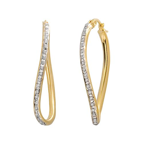 Diamond Mystique 18k Gold Over Silver Figure 8 Hoop Earrings