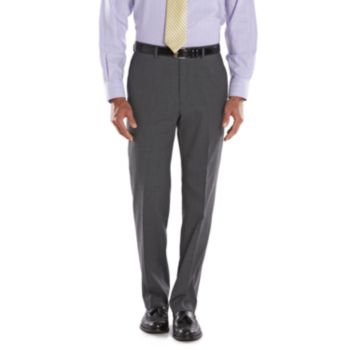Big & Tall Chaps Classic-Fit Gray Wool-Blend Comfort Stretch Flat-Front Suit Pants