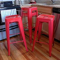 AmeriHome 4 pc Loft Metal Bar Stool Set