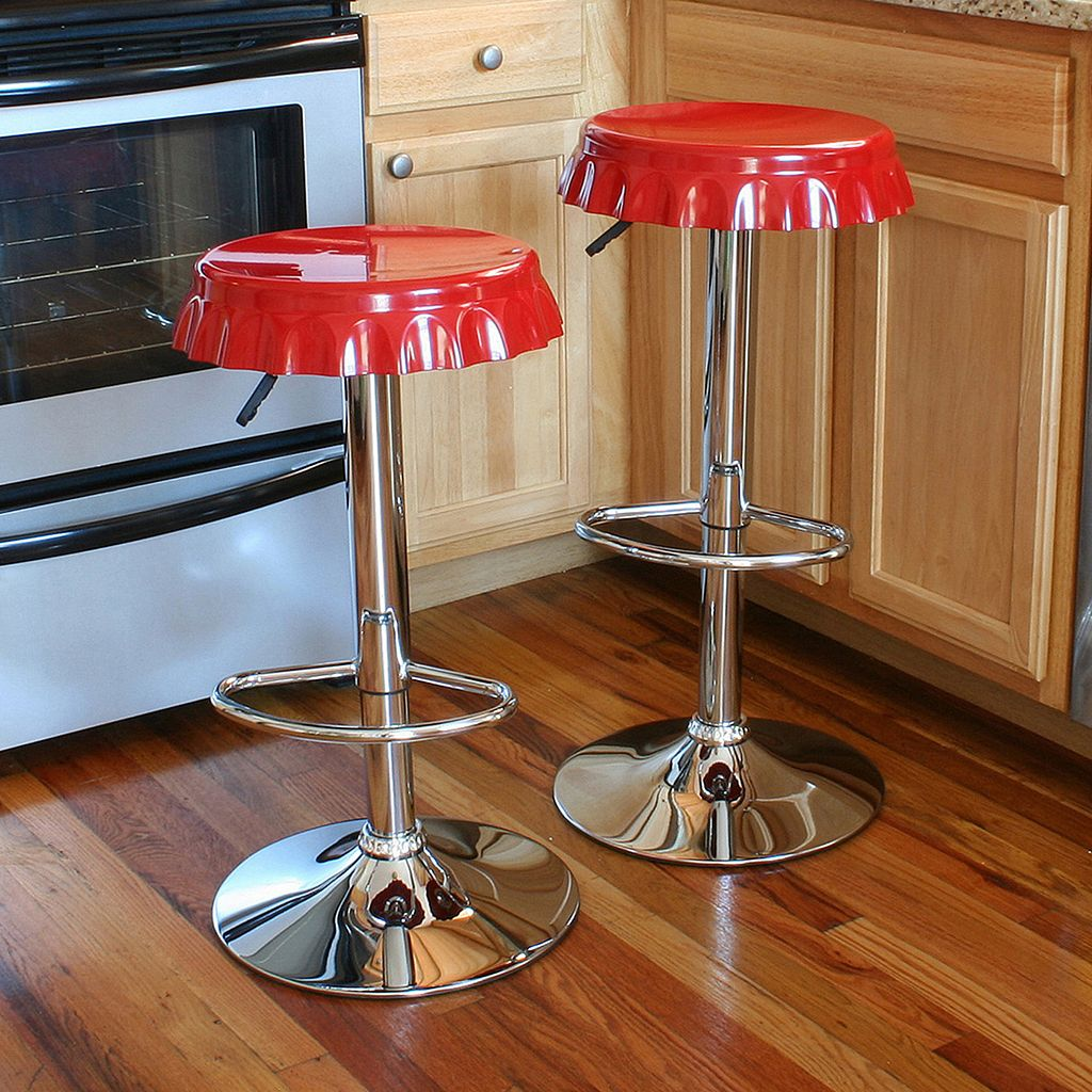 AmeriHome 2-piece Retro Soda Cap Bar Stool Set