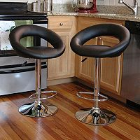 AmeriHome 2 pc Classic Relaxed Bar Stool Set