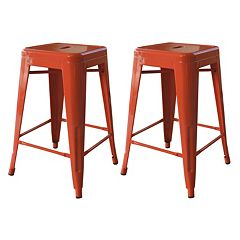 AmeriHome 2 pc Loft 24 in Metal Counter Stool Set