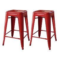 AmeriHome 2-piece Loft 24-in. Metal Counter Stool Set