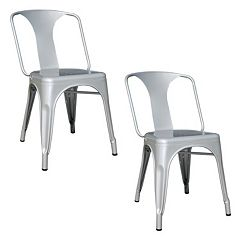 AmeriHome 2-piece Loft Metal Dining Chair Set