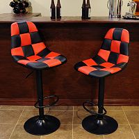 AmeriHome 2-piece Checkered Racing Bar Chair Set