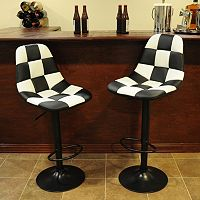 AmeriHome 2 pc Checkered Racing Bar Chair Set