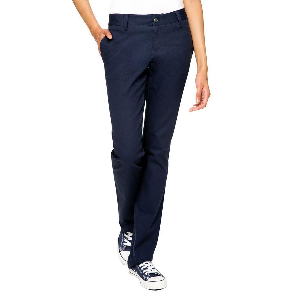 Juniors' Lee Uniforms Original Straight Leg Stretch Pants