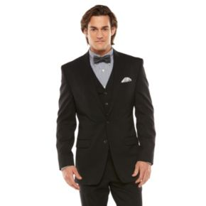 Big & Tall Chaps Classic-Fit Black Shadow Wool-Blend Comfort Stretch Suit Jacket