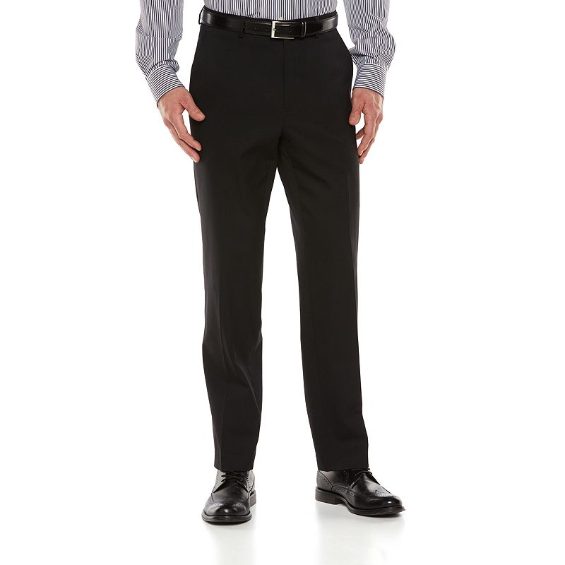 Big & Tall Chaps Classic-Fit Black Shadow Wool-Blend Comfort Stretch Flat-Front Suit Pants