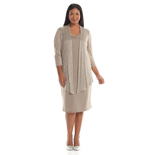 ca2969a00e330 Plus Size Connected Apparel Lurex Mock-Layer Dress
