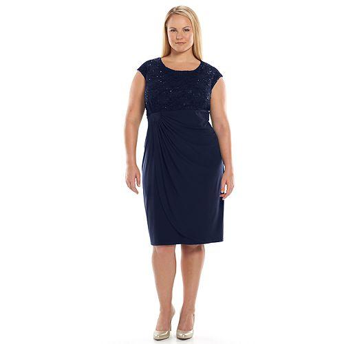 Plus Size Connected Apparel Lace Faux Wrap Dress