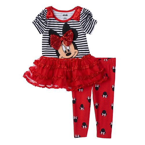 b7b3215cbd52b Disney's Minnie Mouse Striped Tutu Tunic & Leggings Set - Toddler Girl