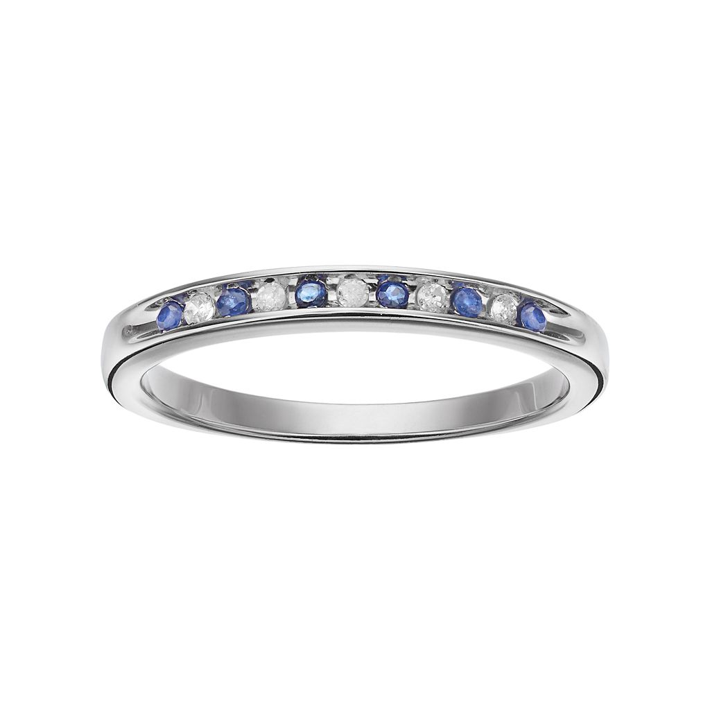 I Promise You Sterling Silver Sapphire & Diamond Accent Promise Ring