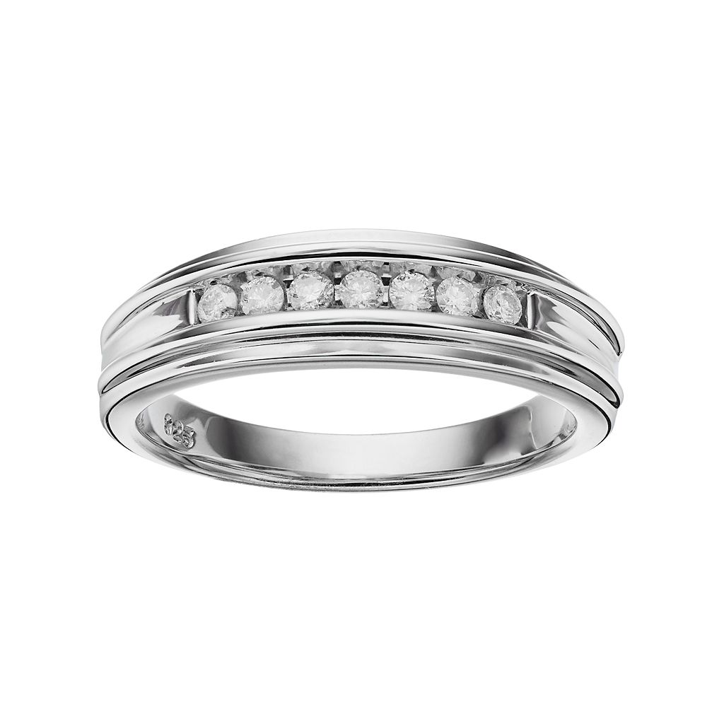 I Promise You Men's Sterling Silver 1/4 Carat T.W. Diamond Promise Ring