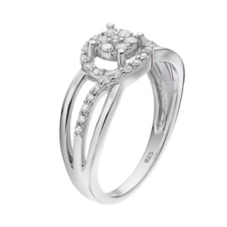 I Promise You Sterling Silver 1/4 Carat T.W. Diamond Halo Promise Ring