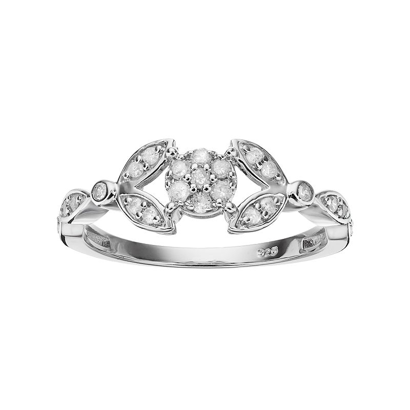 I Promise You Sterling Silver 1/4 Carat T.W. Diamond Flower Promise Ring, Women's, Size: 7, White