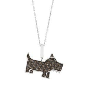Sterling Silver 1/4 Carat T.W. Black & White Diamond Dog Pendant Necklace