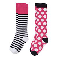 Girls 6-11 SO® 2-pk. Polka-Dot Knee-High Socks