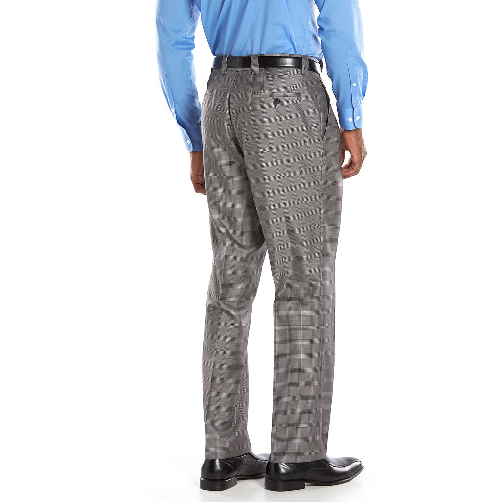 Men's Steve Harvey Classic-Fit Gray Plaid Pleated Suit Pants
