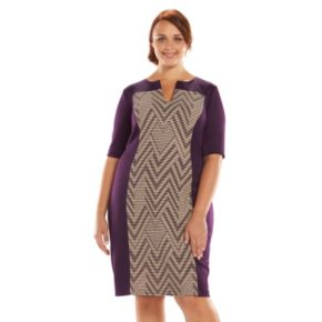Plus Size Connected Apparel Pintuck Sheath Dress