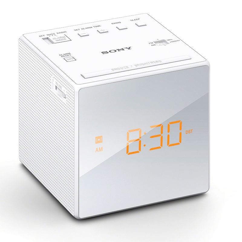 Sony Alarm Clock Radio, White Wake up right on time with this Sony alarm clock radio. : Large LCD display is easy to read from across the room. Adjustable brightness controls ensures optimal visibility. Clock automatically adjusts for Daylight Savings time. Gradual wake alarm and snooze button add convenience. FM/AM radio programming provides listening options. Battery backup keeps the clock working during a power outage. What's Included: One CR2032 battery (for backup power) Product Care: Manufacturer's 1-year limited warrantyFor warranty information please click hereFor information about the modified return policy, please click here : 4H x 4W x 4D 1.8 lbs. Model no. ICF-C1BK Model Numbers: Black: ICF-C1BK White: ICF-C1White Size: One Size. Gender: Unisex. Age Group: Adult.
