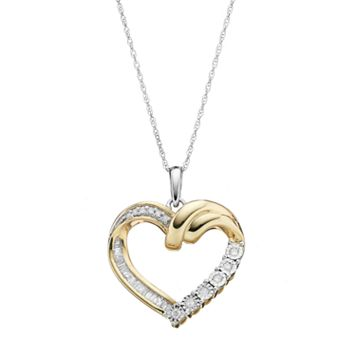 Two Tone 10k Gold 1/5 Carat T.W. Diamond Heart Pendant Necklace