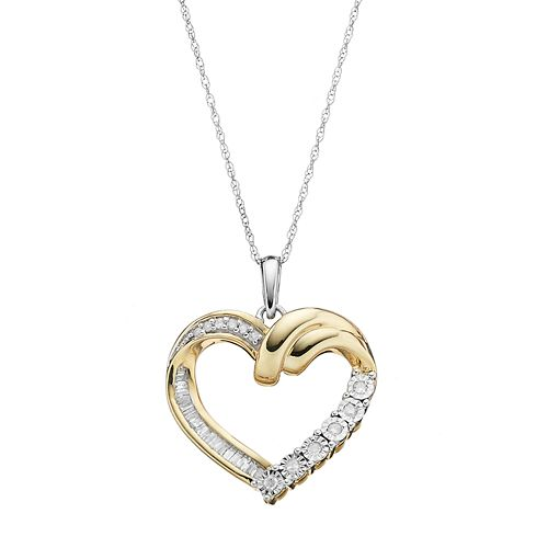 Two Tone 10k Gold 1/5 Carat T.W. Diamond Heart Pendant Necklace