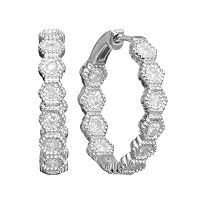 Sterling Silver 1/2 Carat T.W. Diamond Hoop Earrings