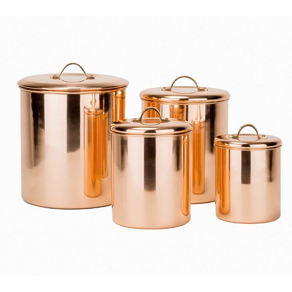 Old Dutch 4 Pc Copper Kitchen Canister Set