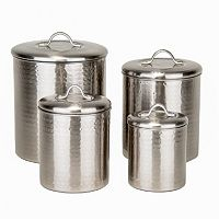 Old Dutch 4 pc Hammered Brushed Nickel Kitchen Canister Set