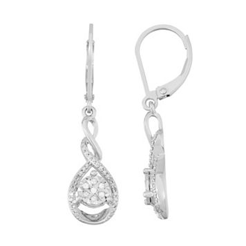 Sterling Silver 1/10 Carat T.W. Diamond Teardrop Earrings