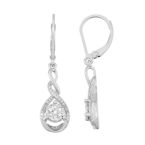 Sterling Silver 1/10 Carat T.W. Diamond Teardrop Earrings
