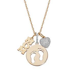 "1/6 Carat T.W. Diamond ""Mom,"" Footprints & Heart Pendant Necklace"