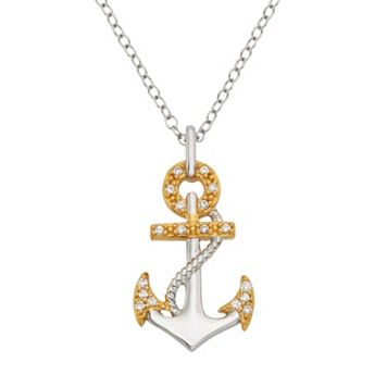 1/10 Carat T.W. Diamond Sterling Silver Anchor Pendant Necklace