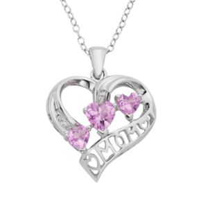 Lab-Created Pink Sapphire & Diamond Accent Sterling Silver Heart Mom Pendant