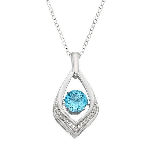 Blue Topaz & Diamond Accent Sterling Silver Pendant Necklace