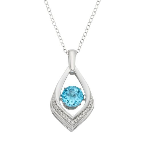 Blue Topaz & Diamond Accent Sterling Silver Pendant Necklace