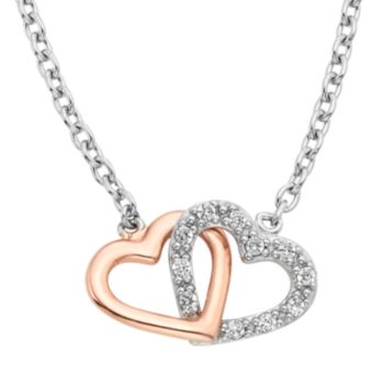1/8 Carat T. W. Diamond Sterling Silver Two Tone Double Heart Necklace