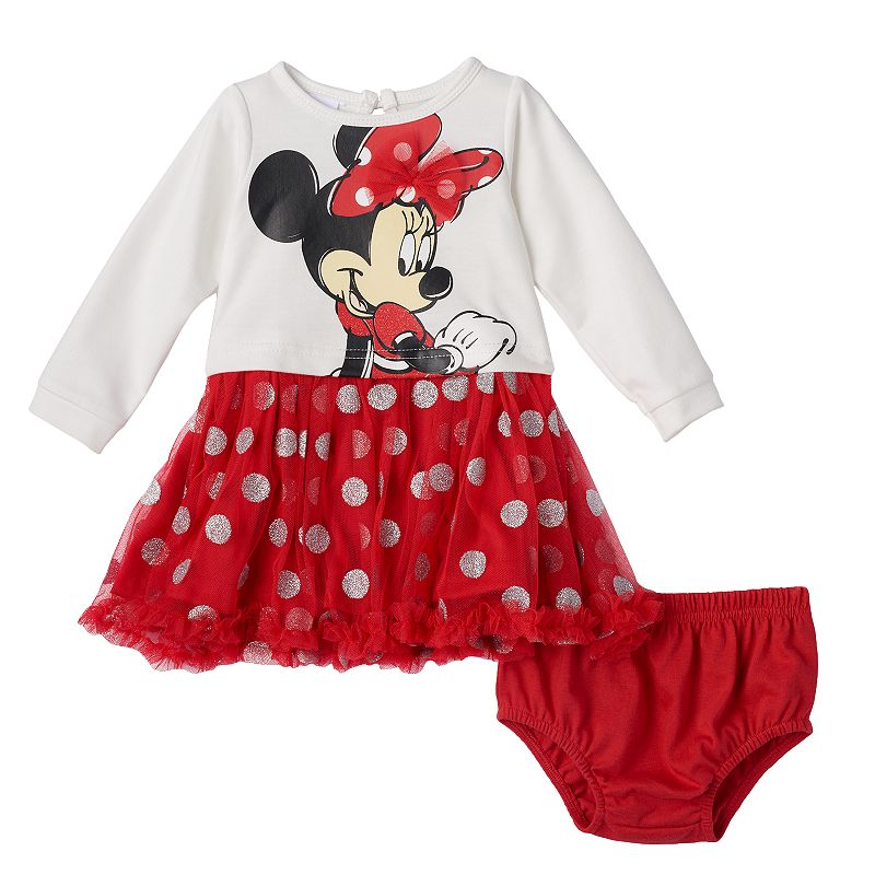 Disney's Minnie Mouse Glitter Polka-Dot Dress - Baby Girl