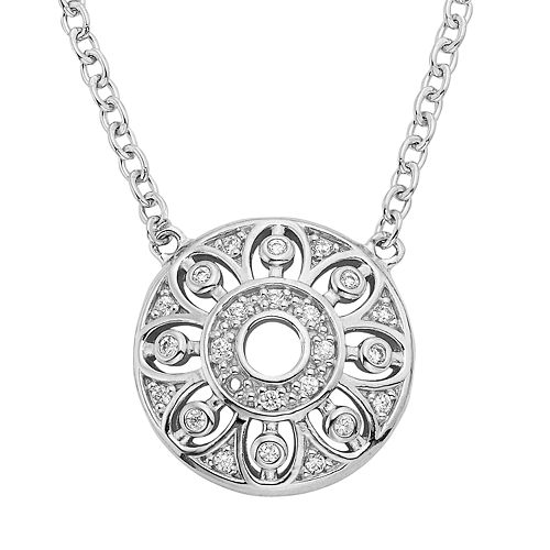 1/8 Carat T. W. Diamond Sterling Silver Flower Disc Necklace
