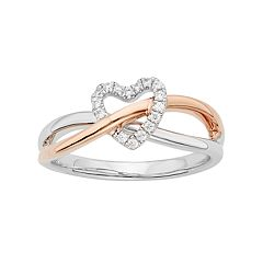 1/10 Carat T.W. Diamond 10k Rose Gold & Sterling Silver Heart Ring