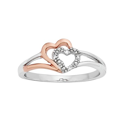 Diamond Accent 10k Rose Gold & Sterling Silver Heart Ring