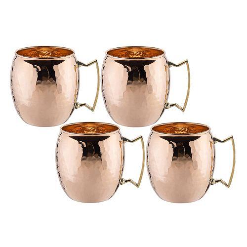 Old Dutch 4-pc. 16-oz. Hammered Copper Moscow Mule Mug Set
