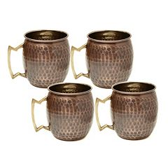 Old Dutch Antique 4-pc. Hammered Copper Moscow Mule Mug Set
