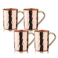 Old Dutch Straight 4 pc Hammered Copper Moscow Mule Set