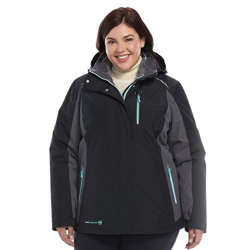 6c0909d2c41 Plus Size Free Country Radiance Colorblock Hooded 3-in-1 Systems Jacket