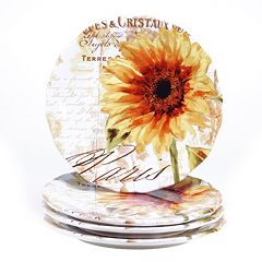 Certified International Paris Sunflower 4 pc Dinner Plate Set